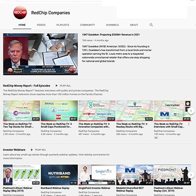 screen shot of the redchip youtube channel with videos